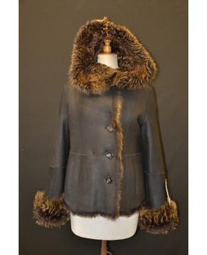 Kožešinová dámská bunda s kapucí v.36-40
